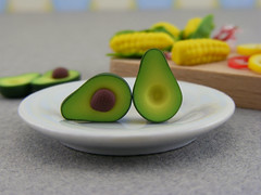Avocado Post Earrings (Shay Aaron) Tags: food plant nature fruit miniature salad handmade aaron fake seed mini jewelry polymerclay fimo tiny greens half faux shay guacamole earrings studs whimsical geekery jewel petit shayaaron wearablefood