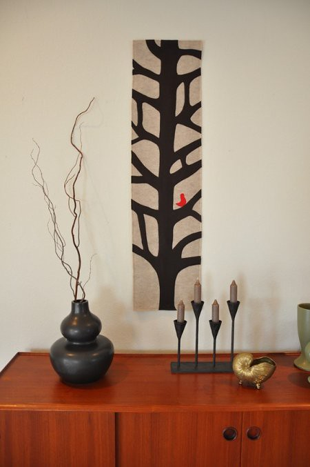 Eco Friendly Tree with Bird Table Runner or Wall Art