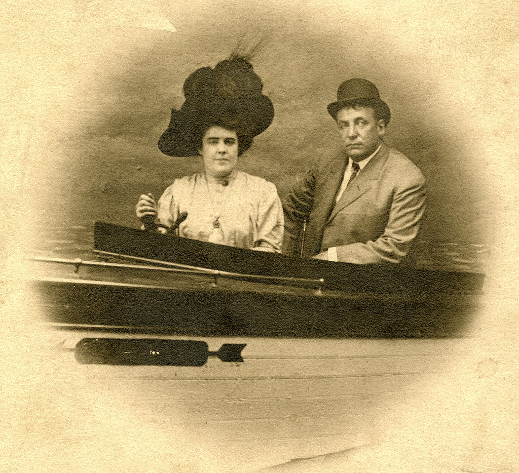 Couple in a Boat. Novelty RPPC Detail.