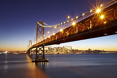 San Francisco Bay Bridge from Yerba Buena Island (photofanman) Tags: bridge blue island bay san francisco christmaslights hour yerba buena starbursts