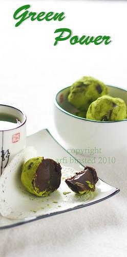matcha green tea choc truffles