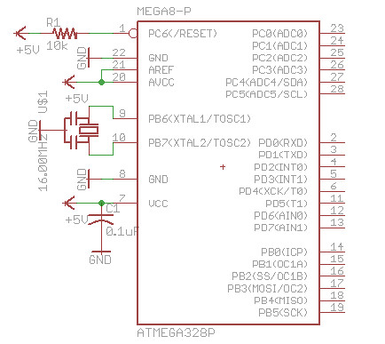 bare bone Arduino Eagle scematic diagram