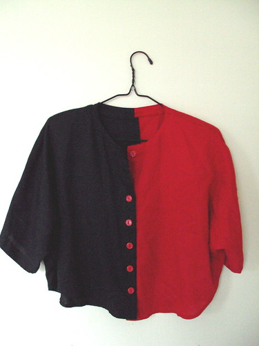 Red and Black Color Blocked Crop Top