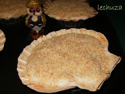 Conchas de salmón-pan rallado