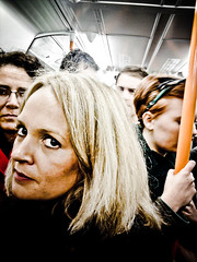 Standing room only (longboy74) Tags: woman london mobile samsung anger mobilephone commuting publictransport 2010 disruption blondewoman southerntrains theevileye crowdedtrains blondewomancommuting blondewomaninacrampedtrain angryblondewoman
