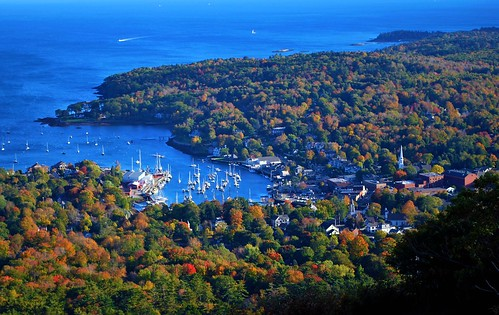 A view to Camden Harbor from Mount Battie