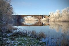 Grosvenor Bridge on a frosty morning (Mark Carline) Tags: camera bridge colour digital canon eos cheshire chester dslr ff hdr grosvenor 5dmarkii 5d2 5dmkii 5dmk2 5dmark2 gupr