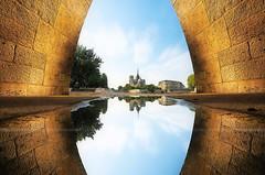Perfect Puddles Reflection under the Bridge,Quayside - Notre Dame ~ Paris // France ~ (Yannick Lefevre) Tags: paris france seine photoshop nikon raw nef wideangle ps notredame iledefrance gettyimages quayside underthebridge d300 sigma1020 flaquedeau nikoncapturenx goldenreflection trompeoeil puddlesreflection capturenx2 yannicklefevre  photography