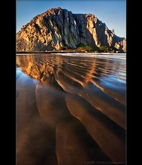 Morro Beach I (TomGrubbe) Tags: ocean california seascape reflection beach sunrise dawn sand bravo morrobay morro morrorock