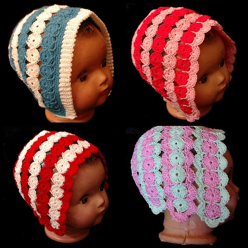 Crochet Yoyo Patterns : >Yoyo Crochet Baby bonnets Sunshines Creations