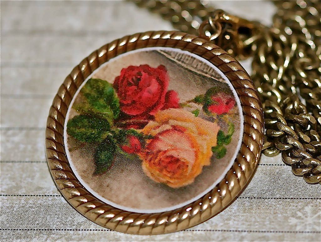 Antique Roses Collage Pendant