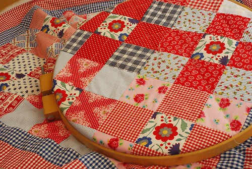 red folklore nine patch quilt