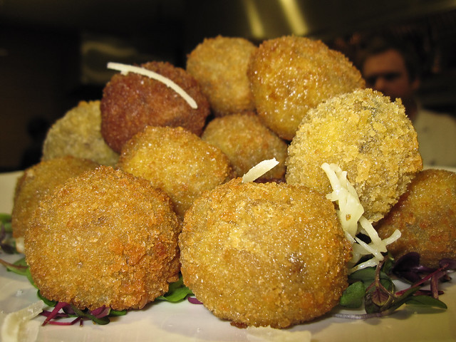 Risotto balls infused with truffle oil