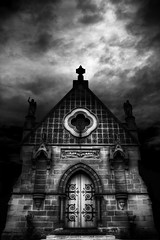 St Michael, The Archangel Chapel - Rookwood Necropolis (Luke Peterson Photography) Tags: door shadow white storm black film church stone contrast canon dark noir cloudy surreal chapel eerie spooky 7d hdr necropolis rookwood