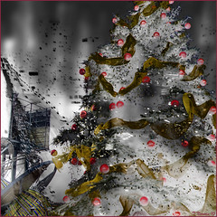 Urban Christmas Tree (Tim Noonan) Tags: christmas street urban colour tree art digital photoshop grey energy vivid manipulation imagination ribbon shining mosca hypothetical vividimagination artdigital shockofthenew sotn sharingart maxfudge awardtree maxfudgeexcellence maxfudgeawardandexcellencegroup magicunicornverybest magicunicornmaster