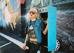 CHELSEA DEEN. (Ally Newbold) Tags: me girl youth booth allison mouse glasses golden orlando phone eagle flag mickey follow september teen jacket american teenager denim 11th 90s newbold twitter wwwallisonnewboldcom fldowntownorangeandgore