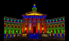 Merry Christmas from Denver, Colorado (Thad Roan - Bridgepix) Tags: county christmas city holiday building architecture night lights photo colorado warm image decoration picture newyear denver symmetry nativity civiccenter nosnow 201012 70ftoday arah200x sarah200x