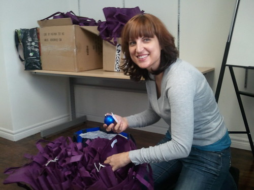 .@homestars on site stuffing big balls in the #hOHOTO swag bags!