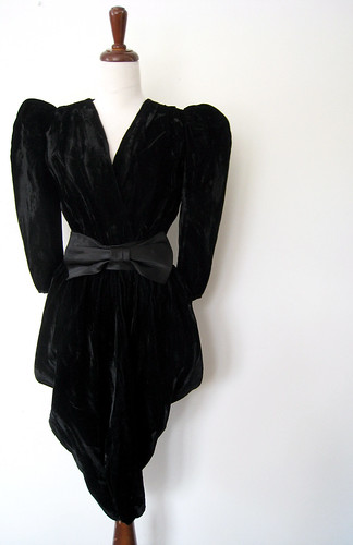 Crushed Black Velvet Harem Dress w/ Satin Bow Belt, Vintage 80's