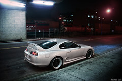 Toyota Supra (Marcel Lech Photography) Tags: lighting canada black colors night vancouver canon silver underground downtown alone bc post top secret 1993 chrome processing toyota carro lip tuner rims import jdm modded supra rhd alphine explored
