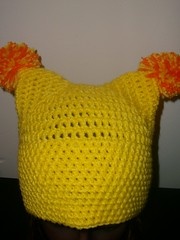Yellow Pom Pom Hat (lavstarlight) Tags: winter orange anime hat yellow weird geek cosplay unique funky unusual geekery pompom accessory lavenderstarlight