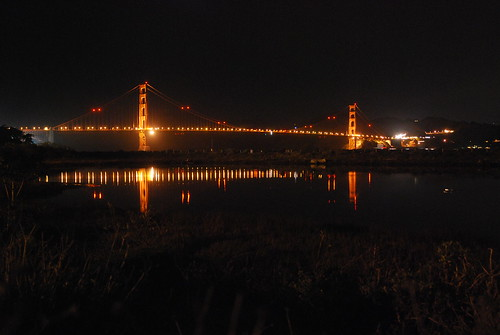 the golden gate bridge at night. the golden gate bridge at