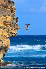 Leap of Faith (Feng Wei Photography) Tags: ocean travel blue sea wallpaper vacation cliff color nature water sport landscape hawaii jump scenery colorful scenic wave kauai leap winnr 100commentgroup dblringexcellence bestofblinkwinners aboveandbeyondlevel1 aboveandbeyondlevel2