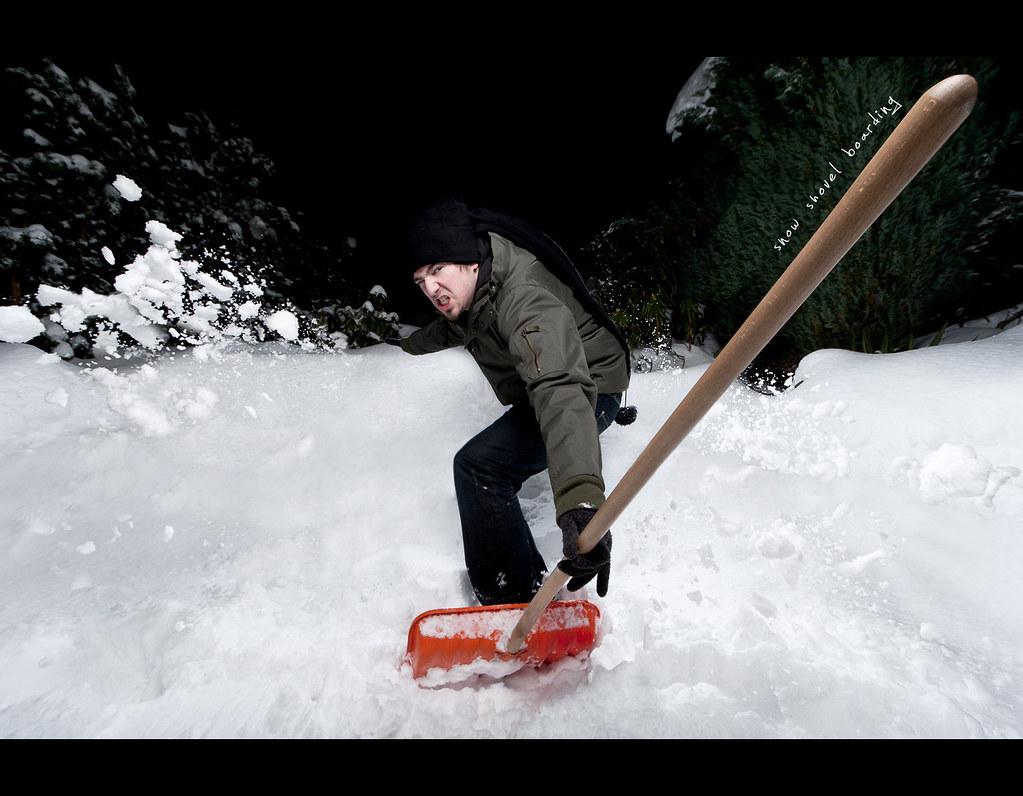 Day 143, 143/365, Project 365, Self Portrait, Strobist, Snow Shovel Boarding, snow boarding, boarding, snow shovel, Canon EF-S 10-22, wide angle, ourdailychallenge, plastic, snow, surfing, action, actionshot, PocketWizard Plus II Transceivers, Pocket Wizard Plus II Transceivers