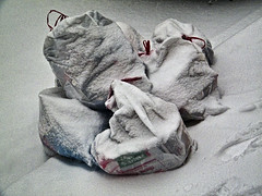 Beware Of Santa Claus: He Takes Away The Gifts And Leaves You Garbage () Tags: winter snow weather trash garbage gifts covered smell santaclaus bags recycle flakes blizzard whitetrash sanitation 2010 garbagebags theendisnear snowmaggedon blizzardof2010 snowverkill