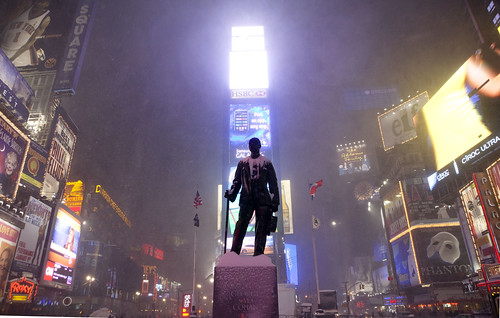George M. Cohan statue, Times Square - New York Blizzard Snowstorm Blargfest