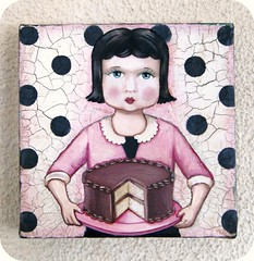 Emma (holiday_jenny) Tags: pink art girl cake vintage painting doll folkart sweet chocolate ooak everydayisaholiday