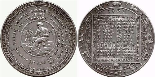 1933 Austrian Calendar medal