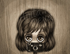 As (Anita Mejia) Tags: camera cute girl sepia illustration dark photo sad ilustracion chocolatita anitamejia mexicanillustrator