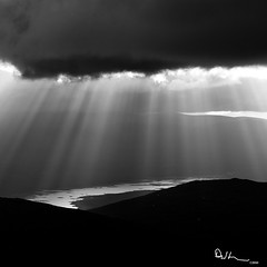 Light Rays -  Buachaille Etive Mr Summit (David Hannah) Tags: light summer cloud sun sunlight mountain clouds canon square dawn scotland highlands 85mm peak highland summit rays loch moor blackwater buachaille etive rannoch stob dearg mr