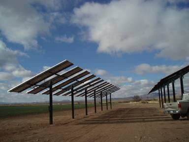 Photovoltaic array at Harvey Allen's Well Service in Elfrida, Arizona.