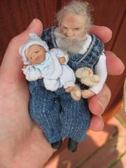 Gramps and grandson with peeps (Lovinclaydolls) Tags: grandma pie miniature doll ooak grandpa clay chicks peeps dollhouse polymer minitreasureswiki