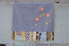 Down the Rabbit Hole - back (paisley & lace) Tags: orange grey embroidery quilts applique threeflowers modernquilt freemotionquilting pearlcotton