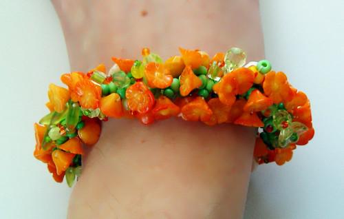 Dyed coral caterpillar bracelet
