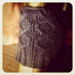 Giving up. (Eisblume cuff, now a cozy.)