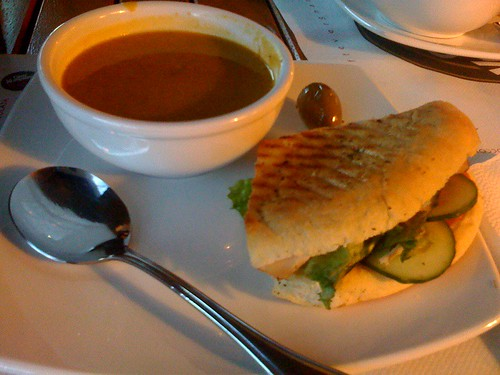 Ginger, curry butternut squash soup with turkey pesto sandwich at Cafe Vergnano (Broadway and Larch-ish)