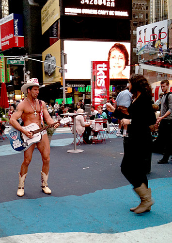 Naked Cowboy, Times Square, NYC by Karen Strunks