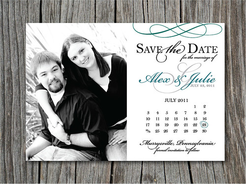 custom wedding invitation suite teal silver Pittsburgh Luxury – Magnet Save the Date Cards for Weddings