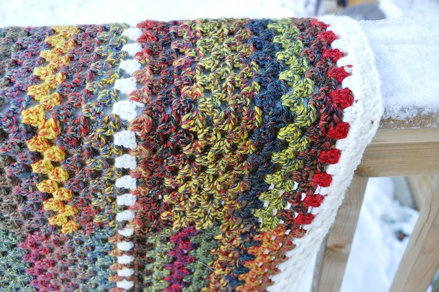 Dec. 28-Giant Granny Square done-63 x 69 inches in Jojoland Rhythm 100% wool, color # M24 and 002 (natural white)-10
