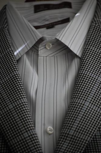 Men's Glen Plaid Sportcoat Grey Striped Shirt
