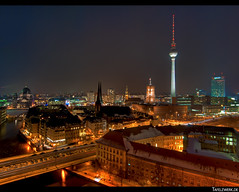 Berlin from above in Panorama HDR (Tafelzwerk) Tags: berlin germany deutschland nikon centre center alexanderplatz fernsehturm rotesrathaus nikolaiviertel zentrum mitte tvtower berlinerdom telespargel berlinmitte fischerinsel d3000 nikond3000 tafelzwerk tafelzwerkde