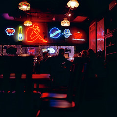 Film in Baltimore Meet-Up (Daniel Regner) Tags: new city shadow 120 tlr film beer analog square lens lights reflex pub focus neon kodak daniel c year january silhouettes twin andrew baltimore medium format 100 manual yashica hampden 2010 mangum ektar fraziers regner patrickjoust