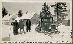 Early snowmobiling in New Hampshire (Bob Gundersen) Tags: road old winter snow cold building cars interesting image shots hiking snowy country tracks picture engine newengland machine newhampshire places whitemountains nh historical gears scenes gundersen livefreeordie lakesunapee greatnorthwoods bobgundersen