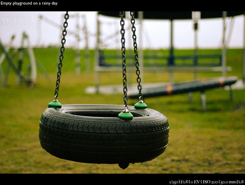 Empty playground on a rainy day