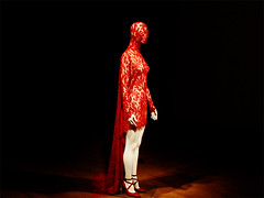 Alexander McQueen, Red lace dress covering head, from 'Joan' (dou_ble_you) Tags: red theatre flames fashiondesign alexandermcqueen