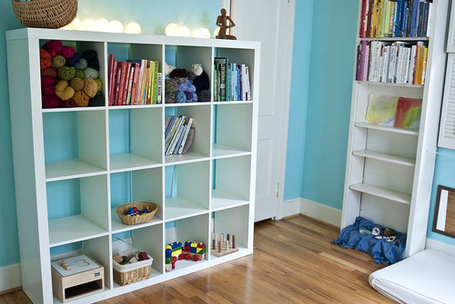 finn and lachlan's studio - toy, yarn, and child development books storage